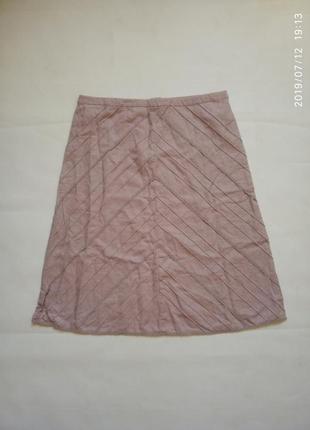 Льняная юбка трапеция пудрового цвета
