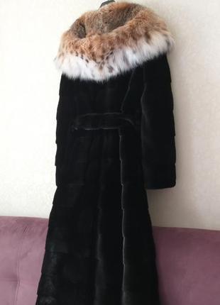 💥рассрочка 💥lux шуба норковая в пол 140см  поперечка с капюшоном из рыси и поясом