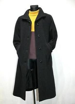 Кашемировое пальто трапеция 20% черное оверсайз