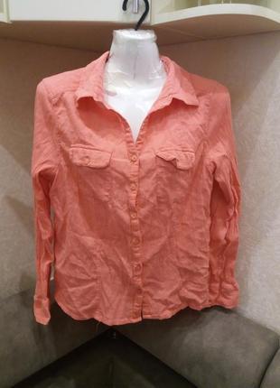 Кораловая  рубашка ---котон     14\16    распродажа2 фото