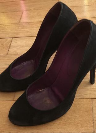 Туфли чёрные замшевые sergio rossi