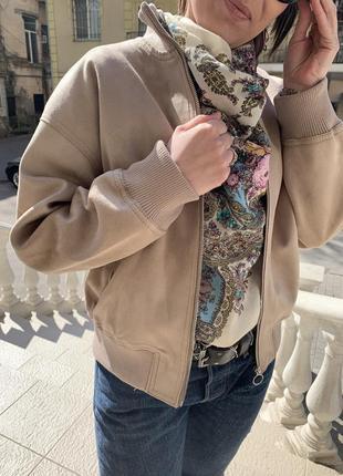 Куртка {бомбер} замшевая zara