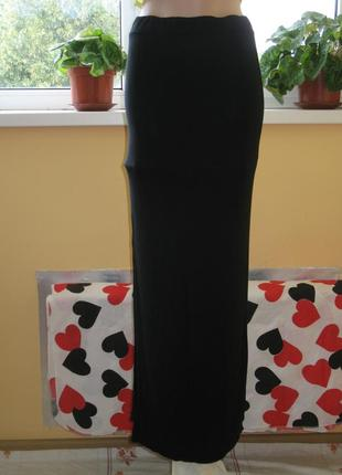 Юбка трикотажная черная длинная в пол