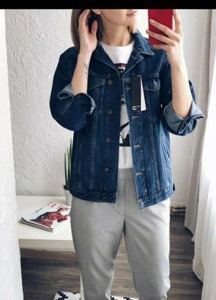 Стильна джинсова куртка  (джинсовка) фасон оверсайз