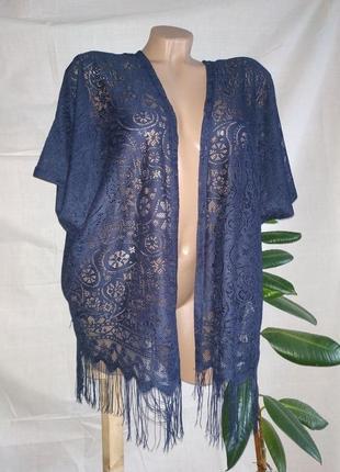 Синее кимоно с бахромой накидка пляжная купальник кардиган пончо