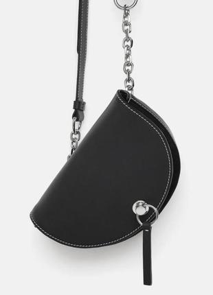 Поясная кожаная сумка zara