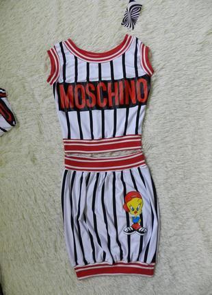 ✅модный полосатый костюм на лето топ и юбка с принтом накатка мультяшки дисней