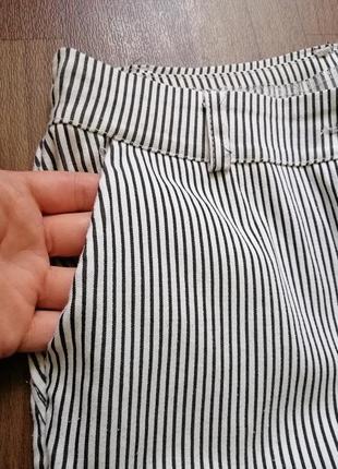 🌿 брюки/штаны укороченные в мелкую полоску4 фото