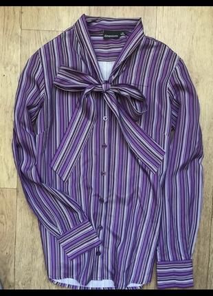 Рубашка на завязках бант на пуговицах в полоску качественная классическая xs 34