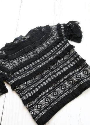 Женский теплый свитер с кружевом love moschino, черно-серого цвета