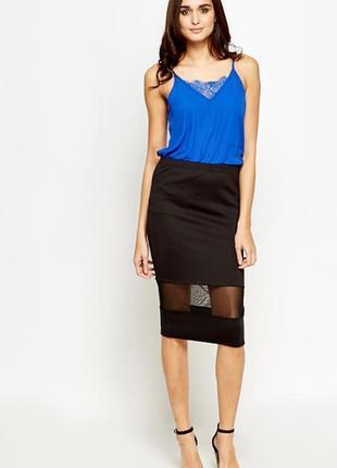 Базовая юбка миди карандаш с гипюровой прозрачной вставкой