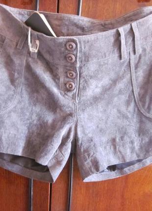 Кожаные классные шорты goosecraf  размер m.цвет серый.