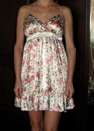 Игривое платье в стиле беби-долл,материал - атлас, норвежский бренд bik bok, р. xs-s