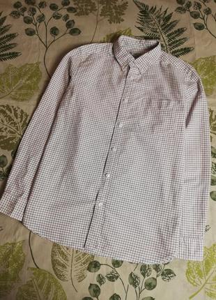 Брендовая шикарная натуральная рубашка в клетку tu 100% коттон