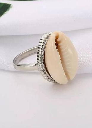 Кольцо колечко каури ракушка под серебро лето тренд