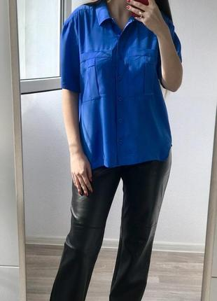 Ликвидация вещей на страничке! свободная синяя блуза с коротким рукавом l-xl размер