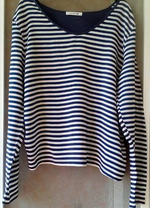 Полосатый лонгслив  блузка  футболка хлопок /вискоза  lacoste