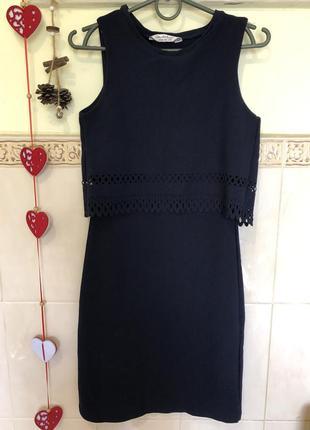 Темно-синее платье-костюм с перфорацией