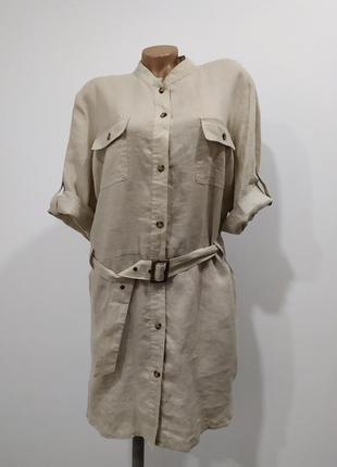 Льняное платье/рубашка/туника marks & spenser