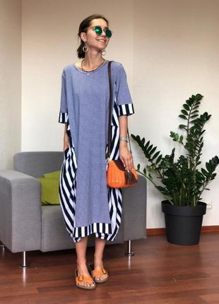 Женское трикотажное платье в синюю полоску pronto moda (италия) размер m-lx