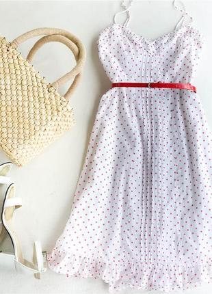 Ретро платье в горох горошек миди 100% хлопок