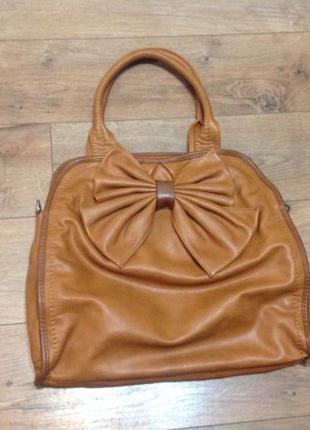 Новая коричневая сумка с бантом