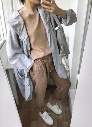 Шикарный льняной кардиган - накидка, лляная льняная блуза лен италия