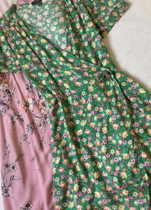 Платье на запах в цветы primark размер 10