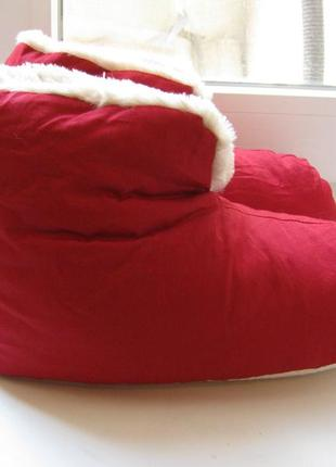 Меховые тапочки-сапожки, размер 38/39, цвет красный
