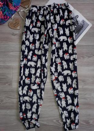 M&s флисовые пижамные штаны р 6-8. сток