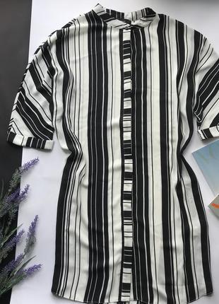 Свободное чёрно белое полосатое платья рубашка / платье в полоску