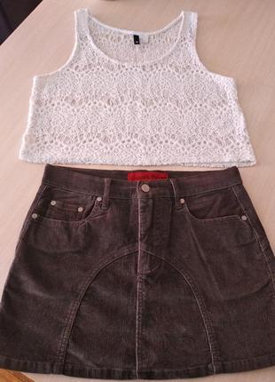 Стильная фирменная микровкльветовая юбка -стрейч,р.44-46.
