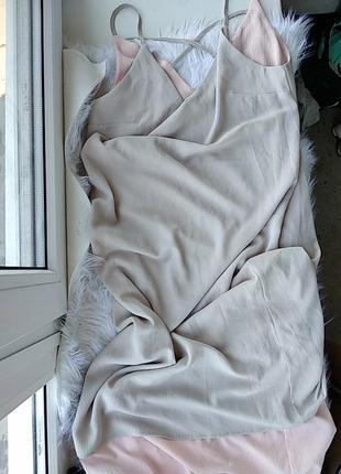 Двухцветный сарафан,  на тонких бретелях,  двухслойный, платье