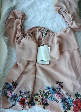 Блуза, топ, цветочный принт, спущенные плечики, свободный крой