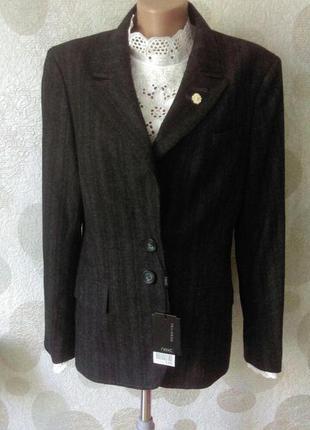 Шерстяной стильный модный жакет блейзер  пиджак большого размера