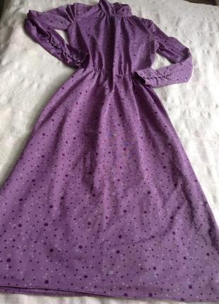 Винтажное сиреневое платье на осень.