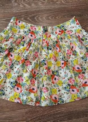 Короткая пышная юбка в цветочек, хлопок