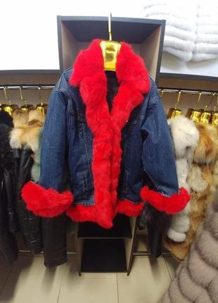Джинсовая утеплённая куртка с мехом кролика парка джинсовая с мехом