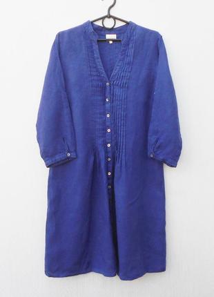 Льняное свободное платье рубашка с рукавом 3/4 east