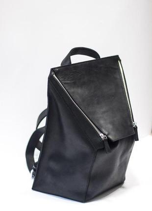 Новый рюкзак! из натуральной винтажной итальянской кожи черного цвета