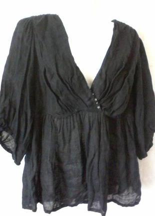 Льняная блуза в стиле бохо, лен, разм.46