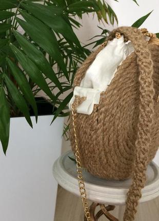 Сумка кругла плетена в'язана з джутов ого канату