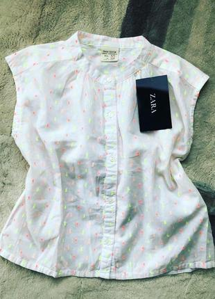 Стильная белая рубашка zara kids