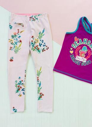 Zara брюки лосины в цветочный принт