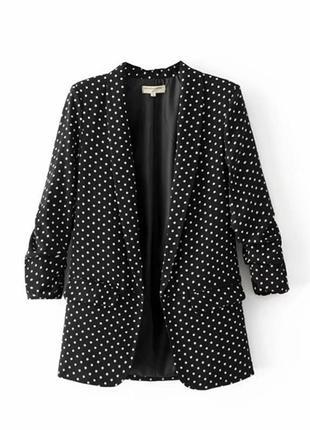 Удлиненный пиджак в мелкий горошек разм л-хл