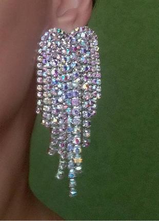 Серьги в стиле zara сережки вечерние длинные серебро