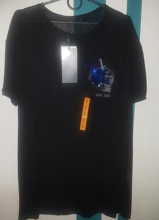 Крутая мужская футболка, туника zara man - р-р л - на м, л - пайетки перевертыши