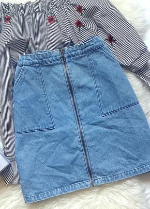 Джинсовая юбка-трапеция с молнией спереди, джинсовая юбка голубого цвета