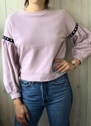 Нежно розовый свитшет толстовка