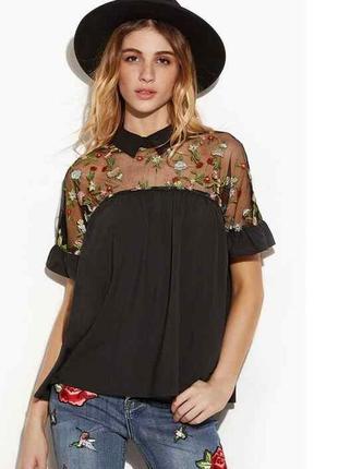 Стильная блузка с вышивкой zanzea